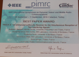 BEST PAPER AWARD at the IEEE International Symposium PIMRC 2019